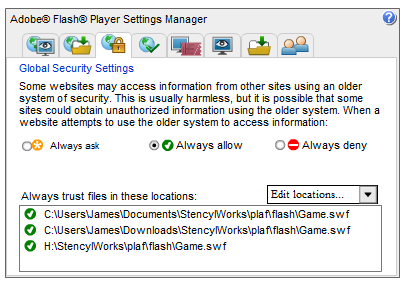 Flash Player Security Manager