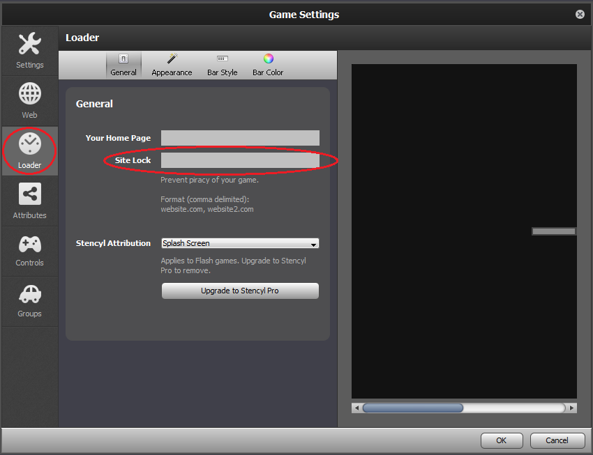 Settings Loader Button