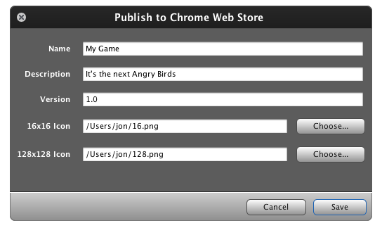 Publish to Chrome