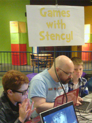 Stencyl in use at 'Hack the Future' at The Tech Museum of Innovation, January 2013