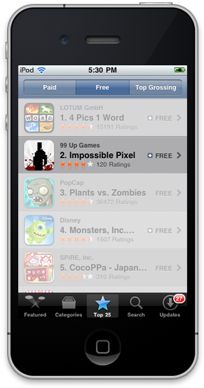 Impossible Pixel, a Stencyl-powered game, reached #2 on the US App Store in February 2013.